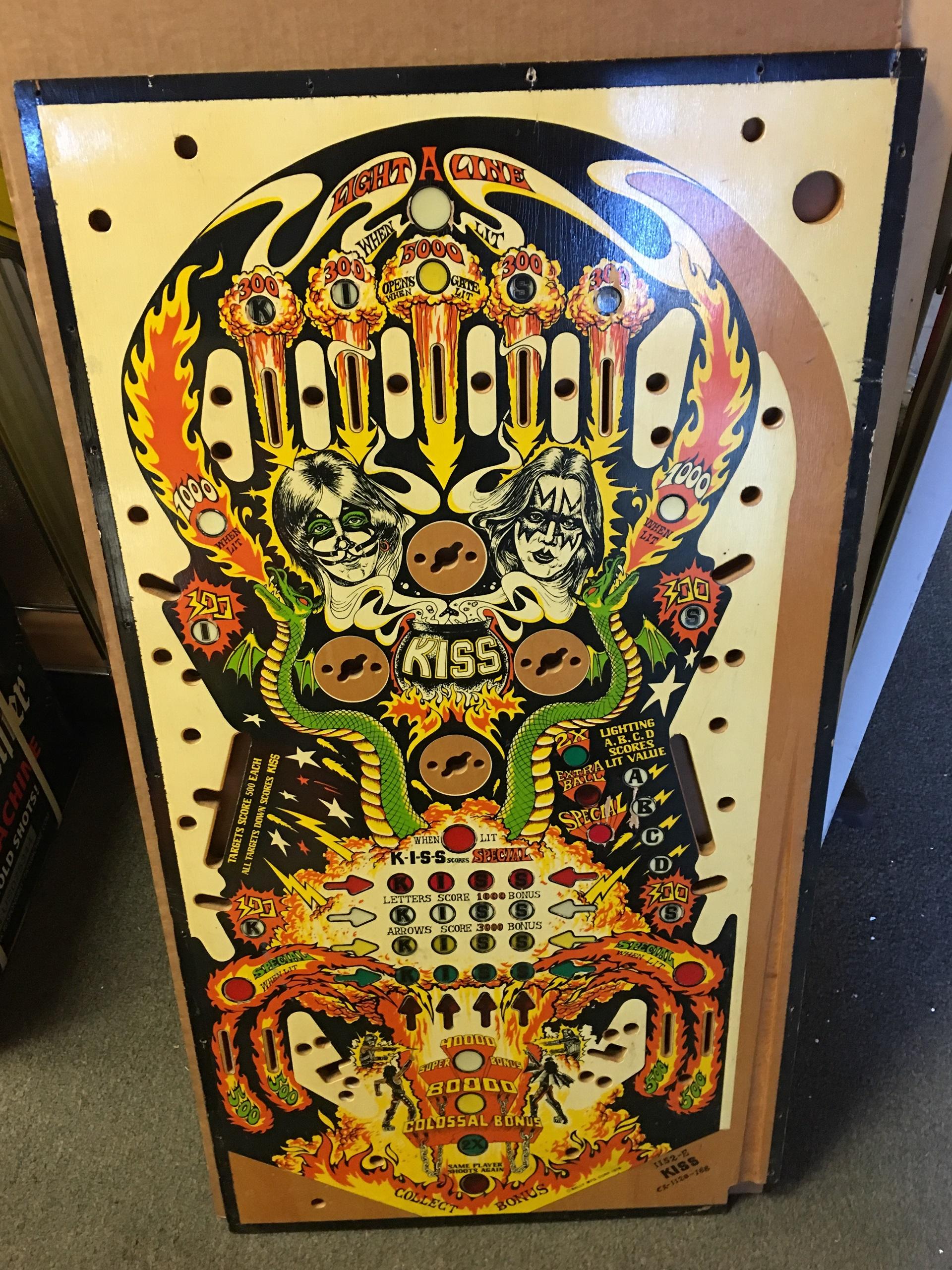 NOS Bally Kiss Pinball Playfield Rare German SS Version