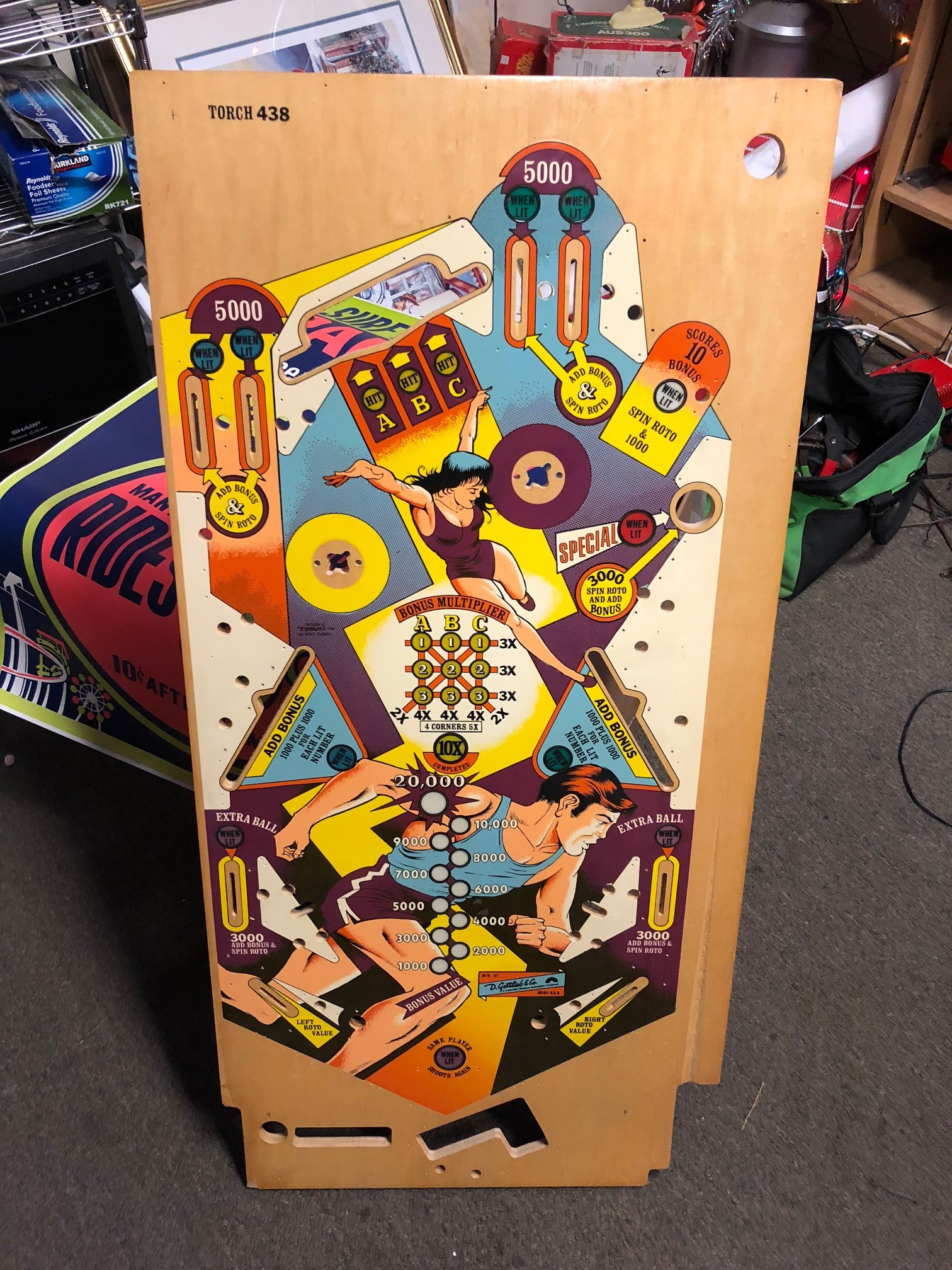 New old Stock Gottlieb Torch Playfield